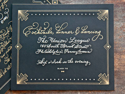 Cocktails, Dinner & Dancing wedding art deco stationery lettering hand-drawn type engraving black tie philadelphia