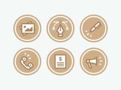 Wonderful Machine Consulting icons photo bezier pen tool pen phone bullhorn marketing identity branding consulting