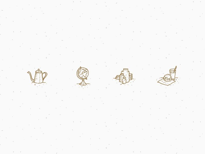 Sattwa Chai - Custom Icons chai tea coffee artisan jars globe kettle illustration iconography icons identity branding