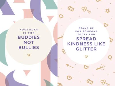 Buddies Not Bullies magic wand lips gem heart key camera iconography icons pastels pattern identity branding