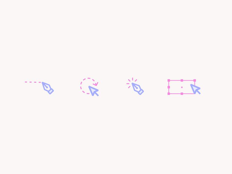 Illustrator Essentials Icons arrow pen tool cursor iconography icons illustrator vector