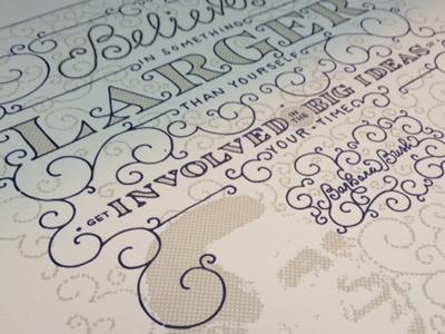 Onward & Upward letterpress poster usa swirls hand-drawn type