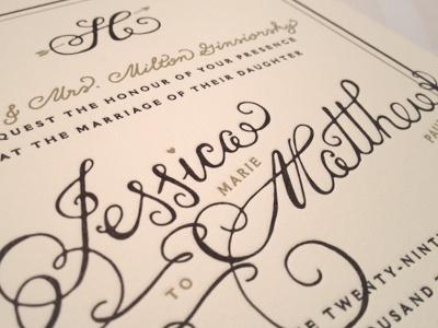 Invite Deets wedding script invitation letterpress lettering swashery hand-drawn type