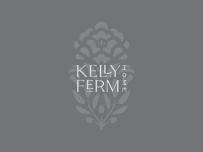 Kelly Ferm Home logotype logo identity branding ligatures typography olive branch peony floral flower mark
