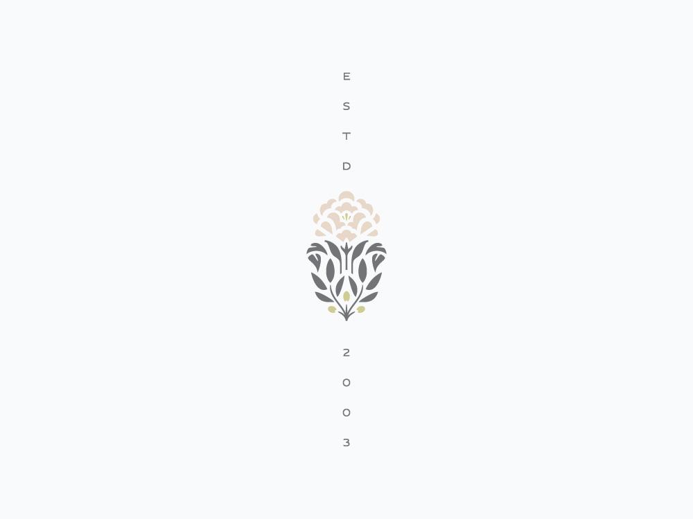 Established 2003 logo identity branding olive branch peony botanical flower floral mark