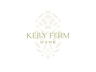 Kelly Ferm Home Logo timeless ligatures mark olive branch peony flower floral botanical logotype logo identity branding