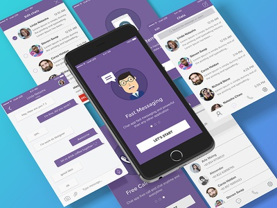 Chat App Freebies psd iphone ui kit chat ux ui freebies free mobile design app ios