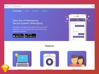 Landing Page Chat App sketch free freebies homepage visual design website landing page ux ui web