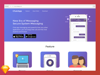 Landing Page Chat App sketch free freebies homepage visual design website landing page ux ui web