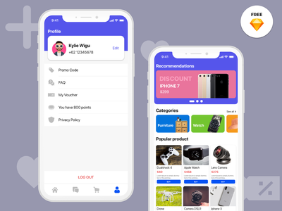 Likeshop ecommerce - Freebies profile design profile ecommerce app ecommerce shop ecommerce ecommerce design app design design mobile design iphone ios app freebies free interface ux ui