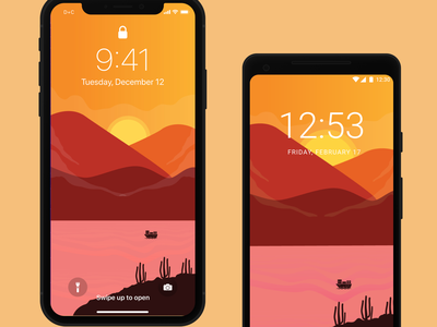 Wallpaper Sunset landscape design landscape illustration landscape wallpaper iphone ios freebies mobile mobile design design free app android interface ux ui