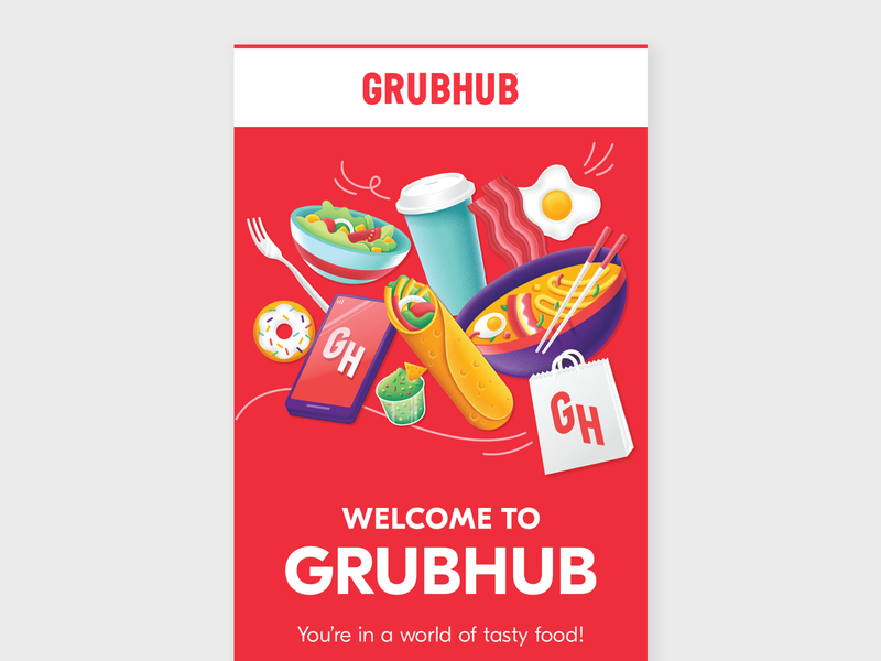 Grubhub Welcome Email Campaign promotion tech welcome newsletter eblast email marketing delivery grubhub sansserif bold branding composition graphic food graphic design illustraion email design email layout typography