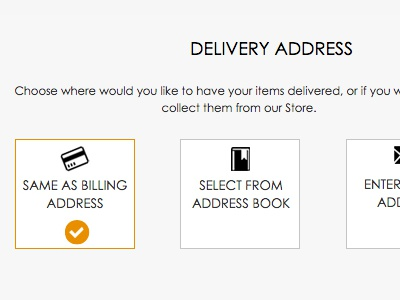 Checkout - Delivery Address checkout ecommerce ux ui icons design flat minimal checkbox form