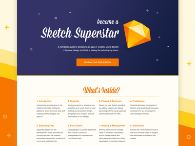 Sketch eBook Landing Page tutorial design bright 1960s landing page workshop ebook sketch