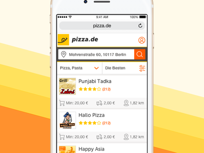 Pizza Mobile Website portfolio ux ui address sort filter mobile web list ordering food restaurant pizza