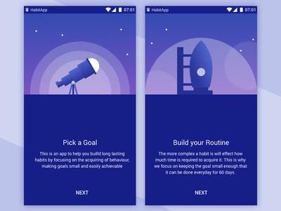 Habit App Illustrations flat illustration ui night sky design material app habit telescope rocket