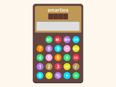 Calculator illustration 004 ui 1980s school candy smarties nostalgia retro vintage calculator daily ui