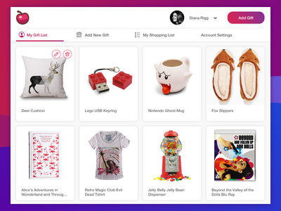 User Gift Guide website app dashboard inventory catalogue ux ui products items gift guide gifts