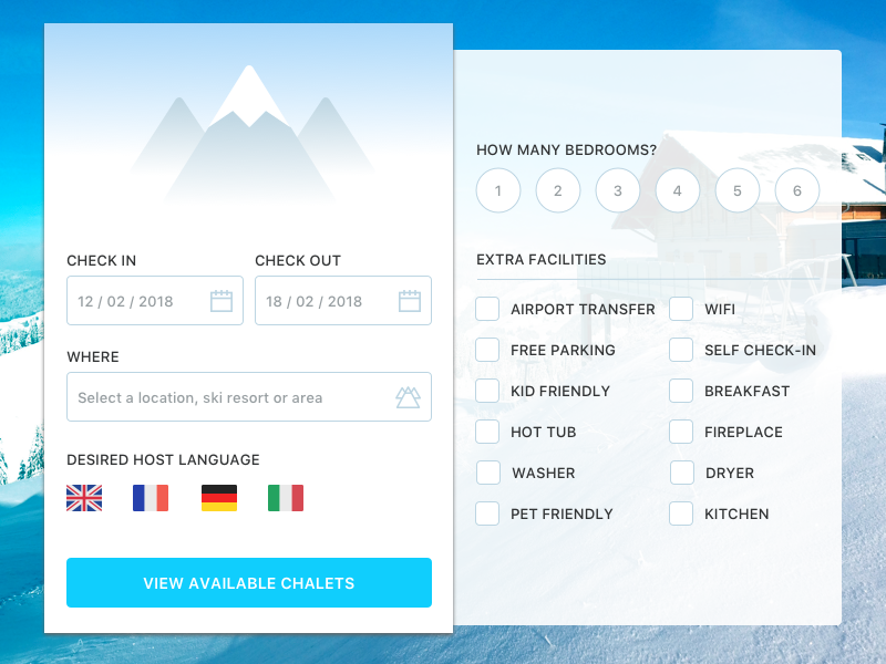Ski Holiday Settings form settings ski winter chalet booking holiday skiing 007 dailyui daily ui