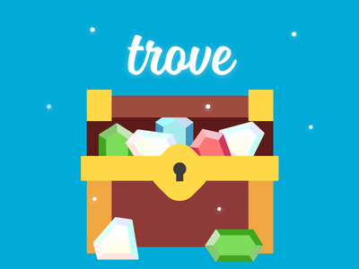 Trove Icon diamond ruby gem chest illustration design ui branding icon treasure