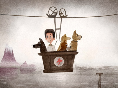 Isle of Dogs watercolor movie illustration character design