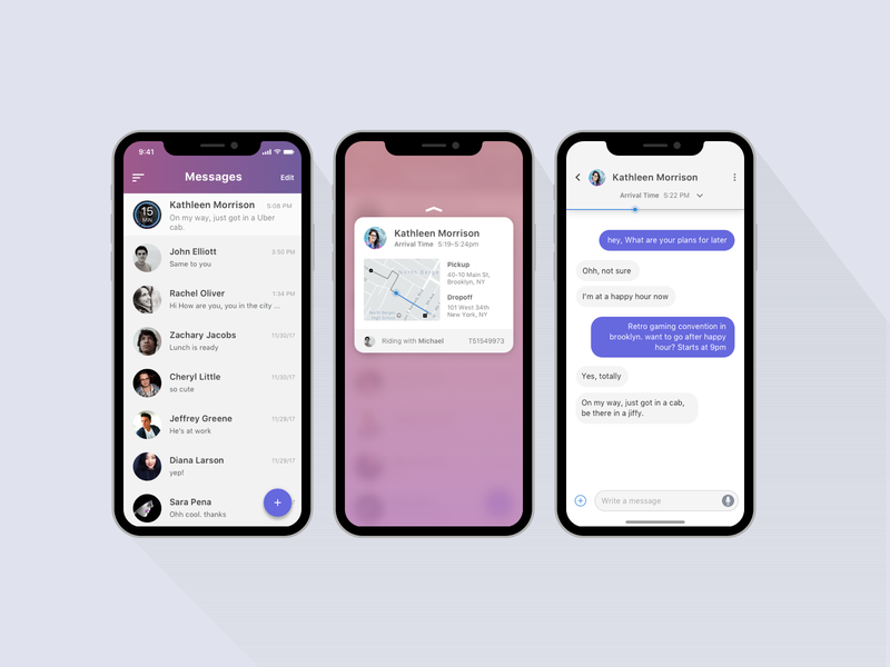 Ridesharing feature in messages map messenger chat travel exploration minimal ridesharing application mobile design ui  ux