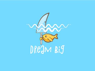 Dream big shark dreams gold fish fish