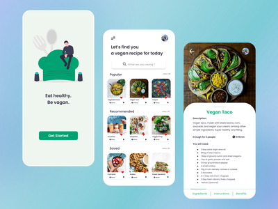 Vegan Food App figma design figma colorful design mobile design mobile app vegan food vegan food app uidesign ui layout design trending