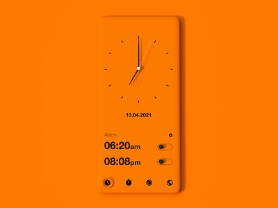Clock minimalism minimalistic neumorphical app design app neumorphic neumorphism design ux ui