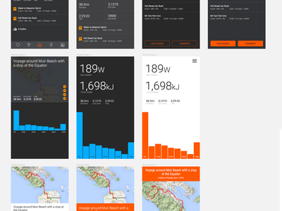 Fast, scrappy Strava inspired design session bar chart orange sketch strava