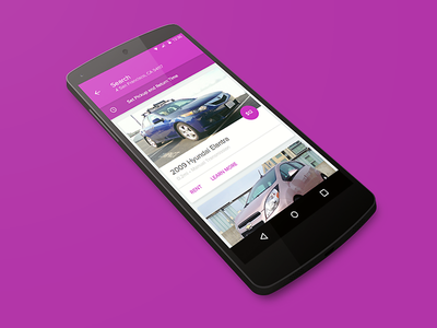 Material Design Exploration cards cars search android material design purple getaround