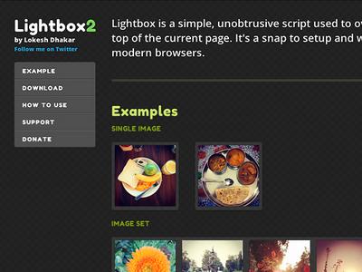 Lightbox2 page redesign black lightbox dark lime green