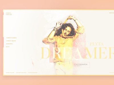 Dreamer ecommerce layout web band white light shop merch website music ar music album design szpak music