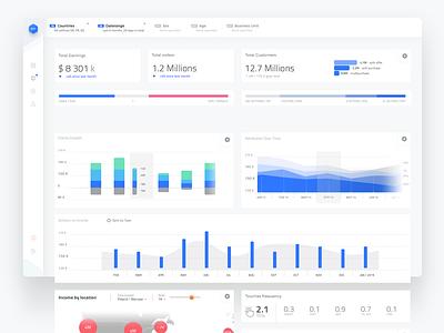 Sales dashboard web light layout app ui design sales blue dashboard