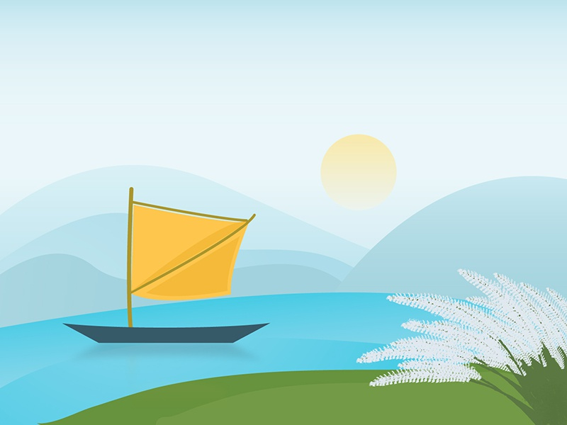 Boating bangladesh river boat water sun mountains catkin earth nature vector sky