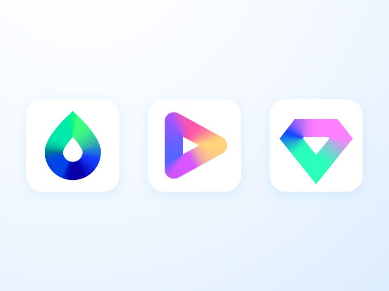 Icon Exploration II | Strokes & Gradients mobile ios icon gradients colors diamond play drop app android