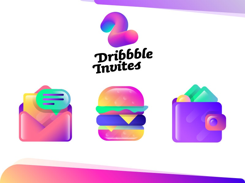 2x Dribbble Invites + Some Icons free chat inbox burger wallet illustrations icons gradients invitations invites dribbble two