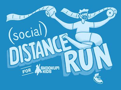 Skookum Kids (Social) Distance Run mask race coronavirus branding sketch textures hand drawn handmade logo