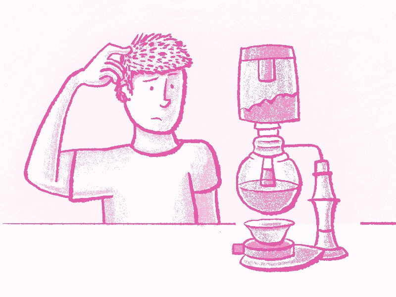 Siphon Coffee Maker line drawing siphon coffee mad scientist confused coffee