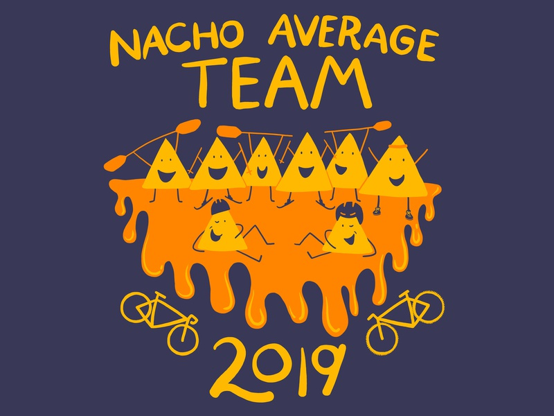 Nacho Average Team kayak team sport run friends two color design shirt team paddle bike illustration drip chips nacho cheesy cheese