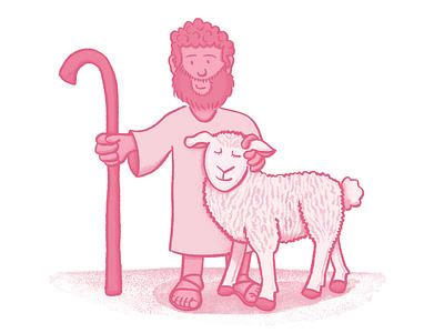 Shepherd hoof cane shepherd shephard red sheep pink line drawing cute kids bible moses illustration