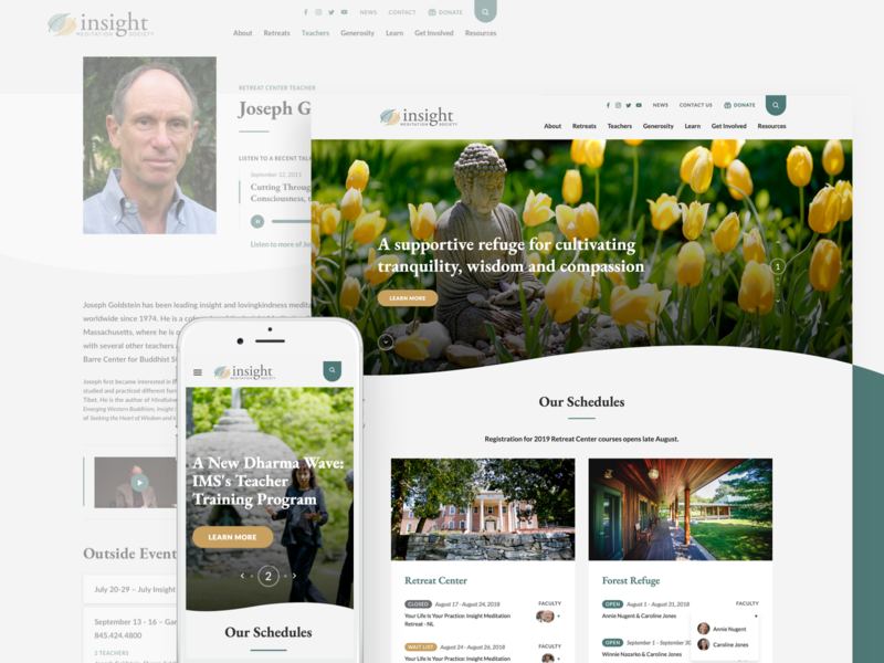 IMS redesign has launched! profiles wave schedules ux ui insight meditation society meditation redesign website