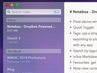 Notebox - Dropbox Powered Notes (OS X 10.10 Concept)