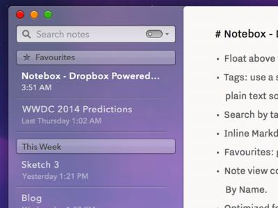 Notebox for Mac Progress (OS X 10.10 Concept)