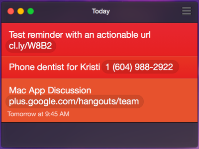 Clear.app for Yosemite + actionable URLs (Concept)