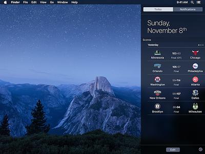 Scores for Mac - Notification Center Widget notification center widget nba widget el capitan mac os x ui