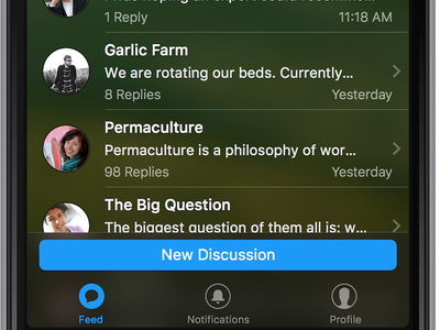 Discussion App for iOS discussion icons mobile ui ios