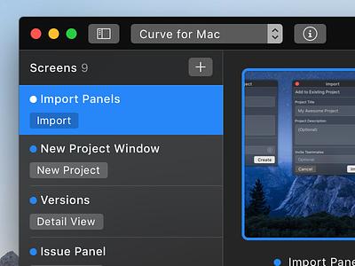 Curve For Mac client work prototype mac macos ui interface design apple