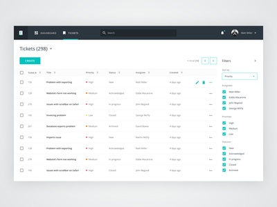 Ticket Manager filters tables data ui ux dashboard
