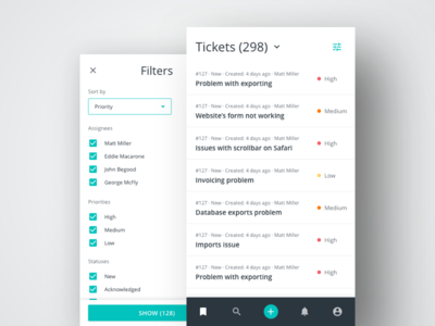 Ticket Manager Mobile View helpdesk mobile filters tables data ui ux dashboard